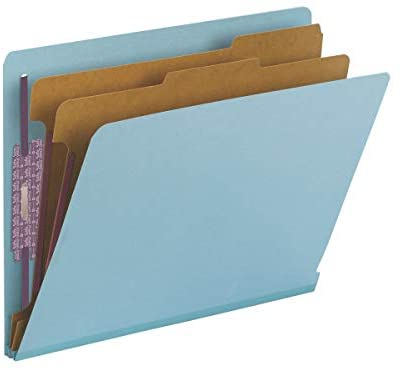 Read more about the article Smead 100% Recycled End Tab Pressboard Classification File Folder with SafeSHIELD Fasteners, 2 Dividers, 2″ Expansion, Letter Size, Blue (26781)