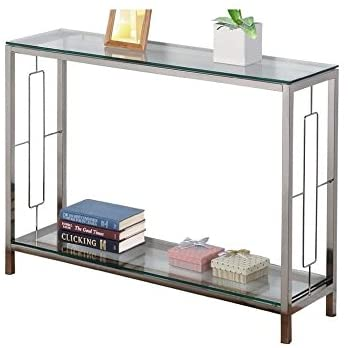 Read more about the article Chrome Metal Glass Accent Console Sofa Table with Shelf