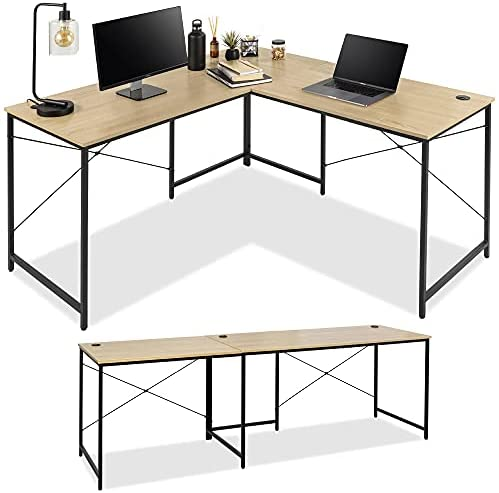 Read more about the article Best Choice Products 94.5in Modular L-Shaped Desk, Corner Computer Workstation, Long 2-Person Study Table for Home, Office w/Adjustable Legs, 200 lb. Capacity, Customizable Set Up – Oak/Black
