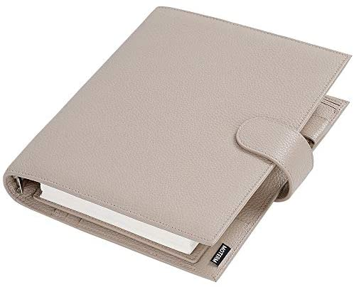 Read more about the article Moterm A5 Luxe Rings Planner – Genuine Leather Binder Organizer (Pebble-Taupe, 30mm Ring)