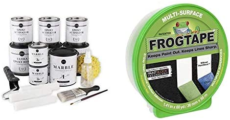 Read more about the article Giani Carrara White Marble Epoxy Countertop Kit & FROGTAPE 1358463 Multi-Surface Painter's Tape with PAINTBLOCK, Medium Adhesion, 0.94″ Wide x 60 Yards Long, Green