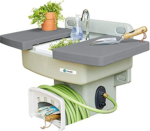 Read more about the article Genki – Outdoor Garden Sink with Hose Hook Up – White Potting Bench with Hose Holder – Outside Sink Station – Gardening Drinking Fountain – Sinks Table – Hand Washing Water Station with Hookup