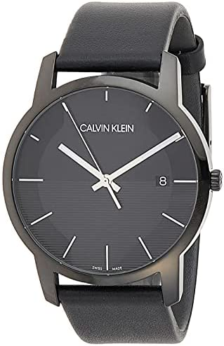 Read more about the article Calvin Klein Men's Stainless Steel Quartz Watch with Leather Strap, Black, 22 (Model: K2G2G4C1)