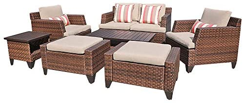 Read more about the article SUNSITT Outdoor Furniture Set 8-Piece Patio Rattan Furniture Set, Patio Lounge Chairs with Ottoman & Loveseat with Waterproof Covers, Brown Wicker with Beige Olefin Cushions