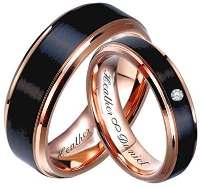 Read more about the article Personalized Rose Gold & Brushed Black Gunmetal Tungsten Ring Set, Engraved Couple's Ring Set Custom, Wedding Band, Custom Engraved Free