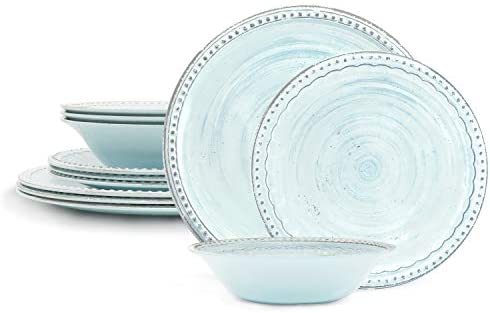 Read more about the article Zak Designs French Country House Melamine Dinnerware Set Includes Dinner, Salad Plates, and Individual Bowls, 12-Piece, Break-resistant Dishwasher Safe (Lavage Sky)