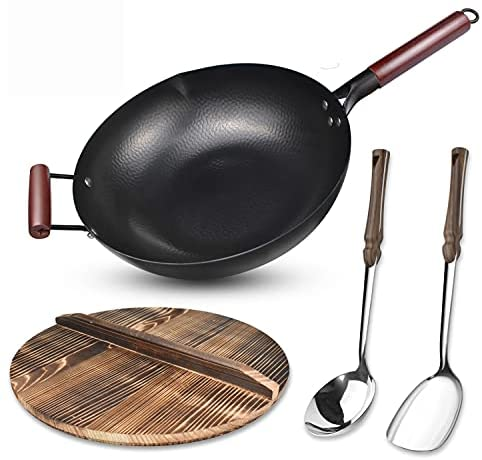 Read more about the article Carbon Steel Wok Flat Bottom,Woks and Stir Fry Pans Nonstick with Spatulas & Spoon,Uncoated Cooking Wok Pan with Wooden Handle,Chinese Pans and Pots for Electric, Induction and Gas