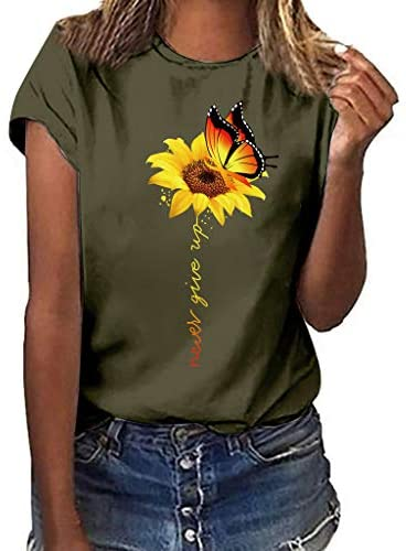 Read more about the article VEKDONE Sunflower Graphic Tee Shirts for Women Summer Short Sleeve Graphic Casual Slim Fit T-Shirt Tops