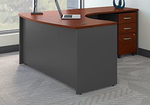 Read more about the article Bush Business Furniture Series C Right Handed L Shaped Desk with Mobile File Cabinet in Hansen Cherry