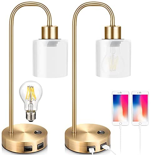 Read more about the article Gold Industrial Table Lamps for Bedrooms Set of 2, Elizabeth Vintage Bedside Lamp with USB Port, BrassMetal Nightstand Lamp,Modern Desk Lamp with Dimmable Edison-Bulb,GlassShade for Living Room,Office