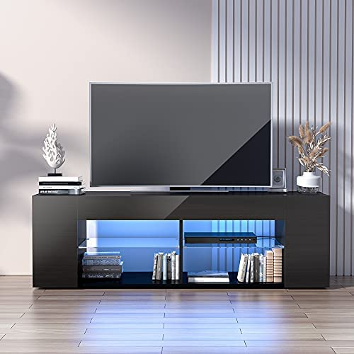 Read more about the article Cozy Castle Black TV Stand for 50/55/60/65 Inch TV, Entertainment Center with High Gloss Modern Style, LED Media Console Tables for Living Room with Large Storage