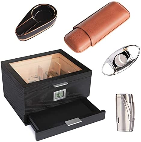 Read more about the article Klaro – Mill Humidor with Cigar Lighter, Cutter, Ashtray, and Travel Cigar case Bundle by CASE ELEGANCE