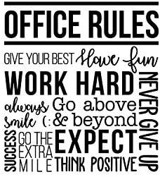 Read more about the article Vinyl Wall Art Decal – Office Rules Give Your Best Work Hard Never Give Up Think Positive – 40″ x 36.5″ – Inspirational Optimistic Quote Sticker for Meetings Conference Room Work Store Decor (Black)