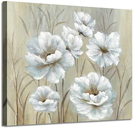 Read more about the article ARTISTIC PATH White Floral Painting Wall Art: Yellowish Peony Artwork Flowers Canvas Picture Painting for Bedroom (24″ W x 18″ H,Multi-Sized)