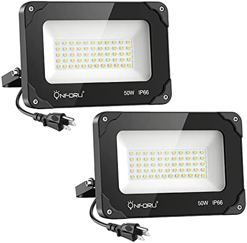Read more about the article Onforu 2 Pack 50W LED Flood Light Outdoor, 5000lm LED Work Light, IP66 Waterproof Plug in Floodlight Fixture, 5000K Daylight White Super Bright Security Light for Yard, Garden, Basketball Court