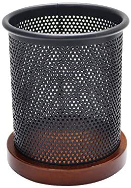 Read more about the article Mesh Pen Pencil Holder with Wooden Base Black Pencils Pot Desk Oraganizer Dispenser for Home Office School Supplies(Mahogany Base)