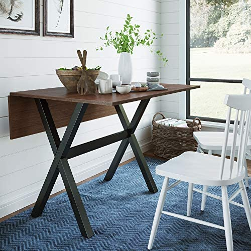 Read more about the article Nathan James Kalos Solid Wood Drop Leaf Folding Kitchen Farmhouse Dining Room or Space Saving Console Table and Desk, Rustic, Walnut/Black