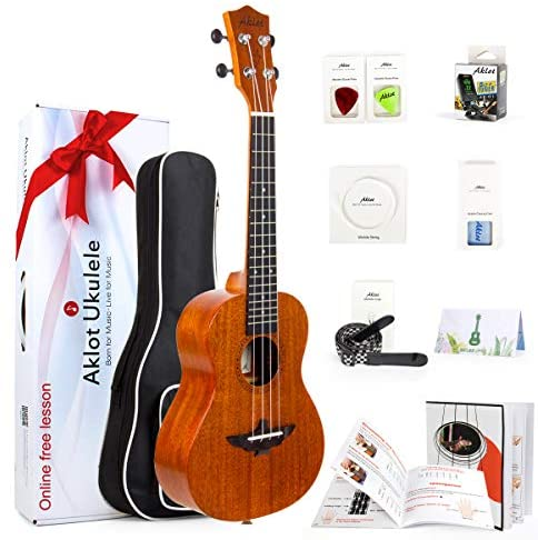 Read more about the article AKLOT Concert Ukulele, Ukelele Solid Mahogany 23 inch for Beginners Starter Adults Kit with Free Online Courses and Uke Accessories, AKC23