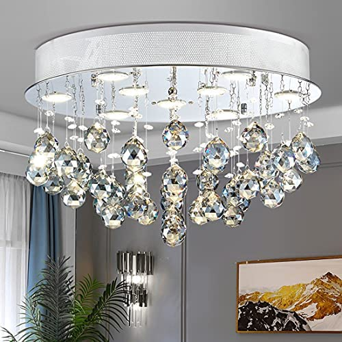 Read more about the article TZOE Crystal Chandelier, Modern Chandeliers,Flush Mount Light Fixture,Ceiling Light for Kitchen Foyer Dining Room Bathroom Bedroom Living Room,9 GU10 LED Bulbs Required .Height 12″ x Width 20″