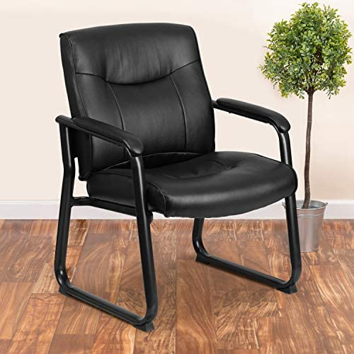 Read more about the article Flash Furniture GO-2136-GG Hercules Series Big & Tall 500 lb. Rated Black LeatherSoft Executive Side Reception Chair with Sled Base