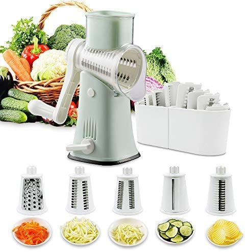 Read more about the article VEKAYA Rotary Cheese Grater and Shredder, 5 in 1 Manual Round Mandoline Slicer, Cheese Graters for Kitchen, Cheese Shredders, Grinder and Julienne for Vegetables,Cheese and Nuts