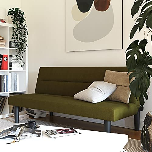 Read more about the article DHP Elm Convertible Living Room Sofa Bed and Couch Linen Futon, Green