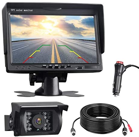 """Read more about the article Vehicle RV Backup Camera for Truck, 7"""" Monitor Car Back Up Camera with Monitor Night Vision 18 IR LED Reverse Waterproof Rear View Camera for Cars/SUV/Trailer/Jeep/Van"""