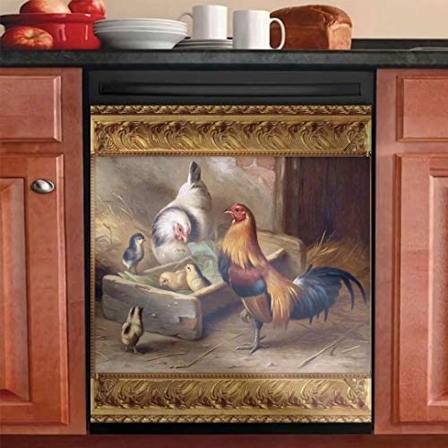 Read more about the article Kitchen Decor Rooster Hen Magnetic Dishwasher Sticker,Country Chicken Decorative for Refrigerator Cover,Fridge Panels,Home Cabinet Decals Appliances Stickers-Magnet 23inch W x 26inch H