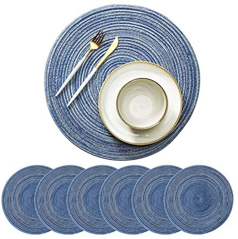 Read more about the article CY SISTERS 15Inch Round Placemats Farmhouse Boho Placemats Cloth Placemat Rustic Woven Placemats for Dining Table Set of 6 Circle Placemats Heat Resistant Placemats Outdoor Blue Placemats Table Mats