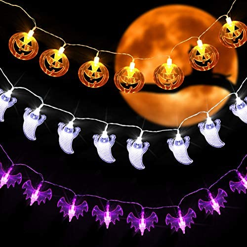 Read more about the article Otdair Halloween String Lights Outdoor, 3 Pack Waterproof Halloween Decoration Lights with 30 LED Each, Pumpkin Bat Ghost String Lights Indoor/Outdoor for Halloween, Thanksgiving Day, Birthday Party