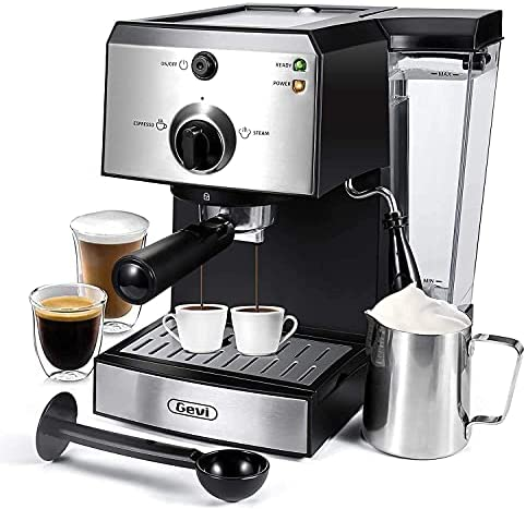 Read more about the article Gevi Espresso Machines 15 Bar Fast Heating Cappuccino Coffee Maker with Foaming Milk Frother Wand for Espresso, Latte Machiato, 1.25L Removable Water Tank, Double Temperature Control System, 1350W