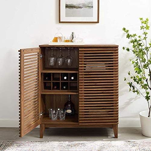 Read more about the article Modway Render Mid-Century Modern Bar with Wine Rack Storage Cabinet, Walnut
