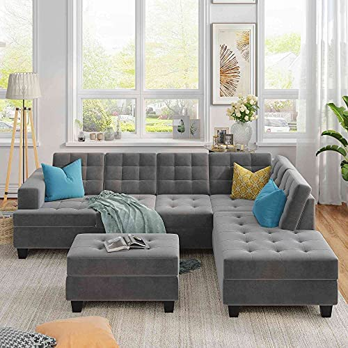 Read more about the article Tulib Microfiber Living Room Furniture Sets, Upholstery Sectional Sofa with Storage Ottoman, L-Shaped Couch with Thick Cushions Chaise Lounge, Grey